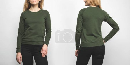 front and back view of woman in blank green sweatshirt isolated on white