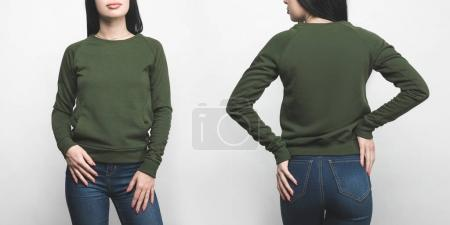 front and back view of young woman in blank green sweatshirt isolated on white