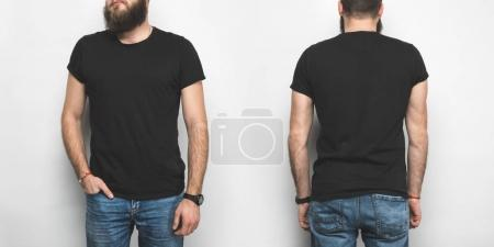 Photo for Front and back view of man in black t-shirt isolated on white - Royalty Free Image