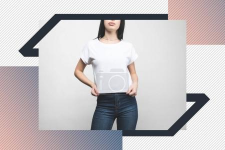 young woman in blank t-shirt on white with creative frame