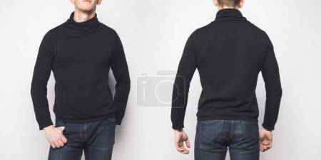 front and back view of man in black sweater isolated on white
