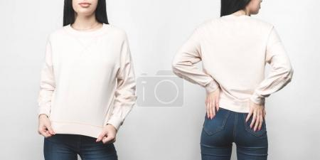front and back view of young woman in blank sweatshirt isolated on white