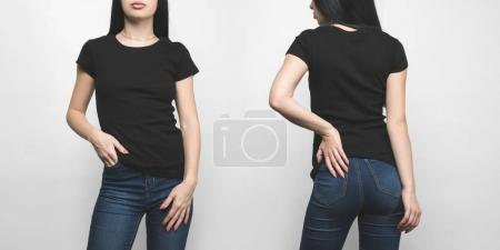 Photo for Front and back view of young woman in blank black t-shirt isolated on white - Royalty Free Image