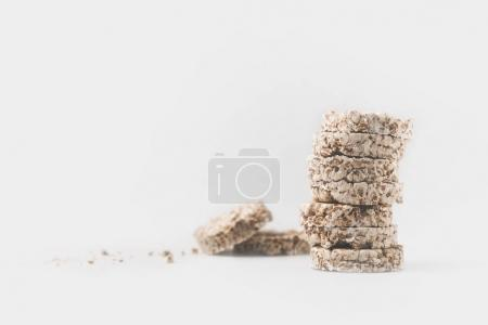 stack of healthy rice cakes isolated on white