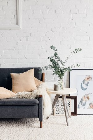 Photo for Modern living room interior with stylish decor, mockup concept - Royalty Free Image