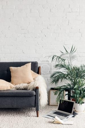 Photo for Comfy couch in white living room interior with brick wall, mockup concept - Royalty Free Image