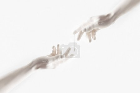 cropped image of woman and man reaching out with hands isolated on white