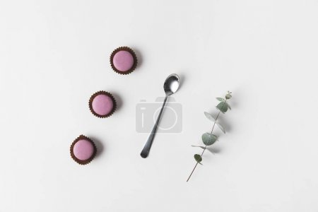 Photo for Flat lay with arranged macarons, spoon and eucalyptus on white surface - Royalty Free Image