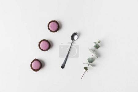 flat lay with arranged macarons, spoon and eucalyptus on white surface