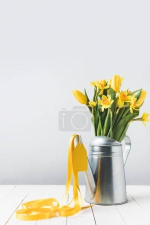 Photo for Beautiful yellow spring flowers in watering can on grey - Royalty Free Image