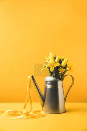 Photo for Beautiful blooming spring flowers in watering can with ribbon on yellow - Royalty Free Image