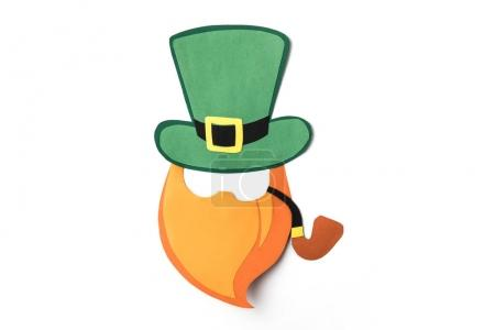 top view of paper decoration with green hat and beard for st patricks day isolated on white