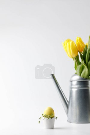 Photo for Yellow painted easter egg in egg stand and tulips in watering can on white - Royalty Free Image