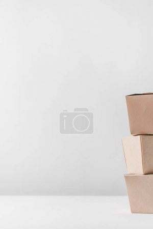 Photo for Three noodles boxes on white tabletop - Royalty Free Image