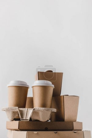 Photo for Pizza boxes and disposable coffee cups isolated on white - Royalty Free Image