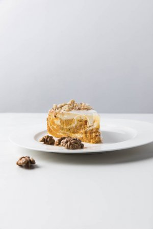 Photo for Closeup view of cake on plate surrounding by walnuts - Royalty Free Image