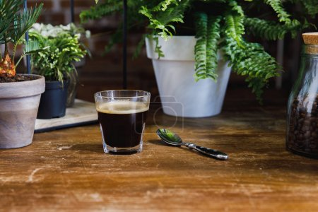 Photo for Morning black coffee in glass on table with plants in coffee shop - Royalty Free Image