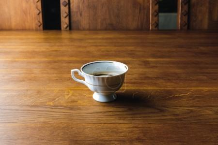 close-up view of cup of coffee on wooden table