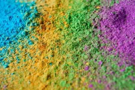 close up of colorful holi powder, traditional Indian festival of colours