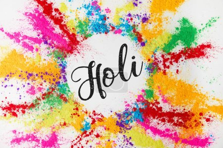 Photo for Circle of colorful traditional powder with Holi sign, isolated on white, Hindu spring festival - Royalty Free Image