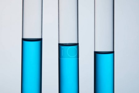 close-up shot of test tubes filled with blue liquid in row on grey