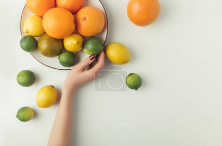 Woman holding plate with citrus fruits isolated on white background