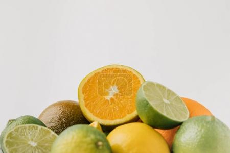 Raw citruses isolated on white background