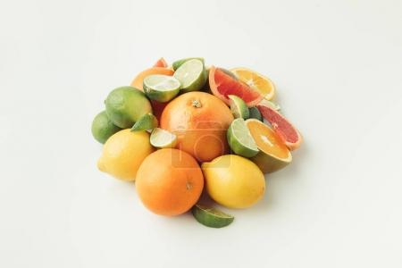Photo for Heap of citrus fruits isolated on white background - Royalty Free Image