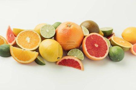Ripe raw citruses isolated on white background