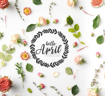 HELLO APRIL lettering surrounded with pink flowers, petals and figs isolated on white