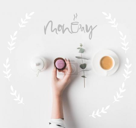 Photo for Cropped shot of female hand and breakfast with MONDAY lettering on white tabletop - Royalty Free Image