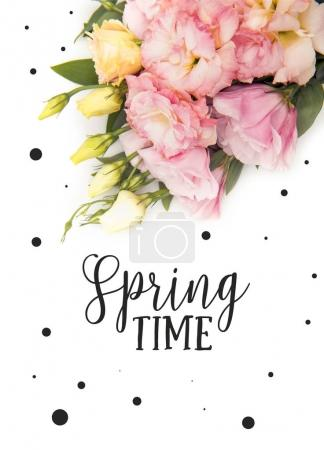 Top view of beautiful tender flowers and buds with SPRING TIME lettering isolated on white