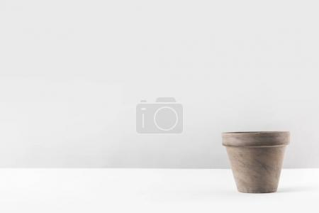 close-up view of empty brown flower pot on white