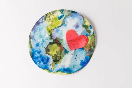 top view of handmade colorful paper globe with red heart isolated on grey, environment protection and recycling concept