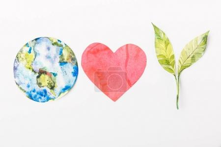 Photo for Top view of paper made colorful globe, red heart and green plant isolated on grey, recycling and  environment protection concept - Royalty Free Image