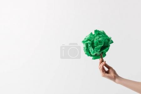 Photo for Cropped shot of woman holding handmade tree in hand, recycle concept - Royalty Free Image