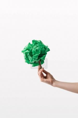 cropped shot of woman holding handmade tree in hand, recycle concept