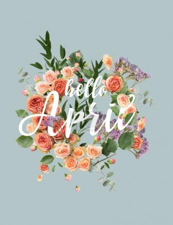 creative collage with floral wreath and leaves with HELLO APRIL sign
