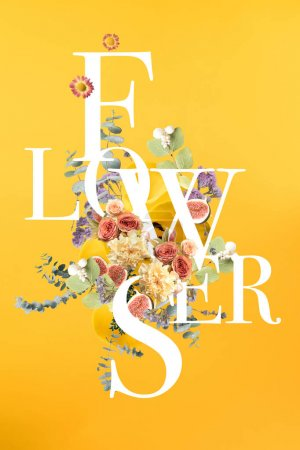 Photo for Creative collage with floral bouquet and leaves on yellow with FLOWERS sign - Royalty Free Image