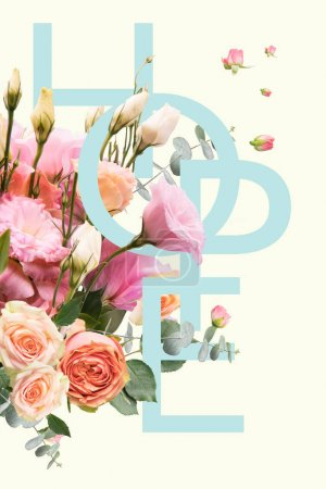 Photo for Creative collage with floral bouquet and HOPE sign - Royalty Free Image