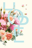 creative collage with floral bouquet and HOPE sign
