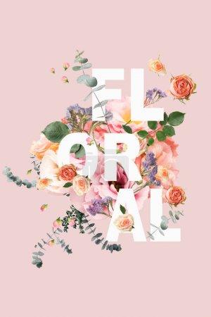Photo pour Collage créatif avec bouquet floral et feuilles sur rose avec signe FLORAL - image libre de droit