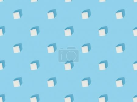 white sweet sugar cubes seamless pattern