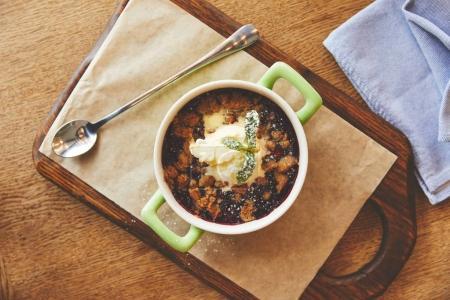 Cobbler pie dessert served in pot
