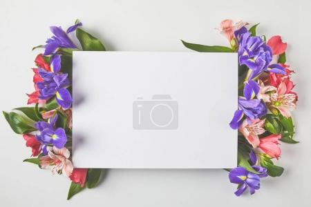 Photo for Top view of blank card and beautiful tender flowers on grey - Royalty Free Image