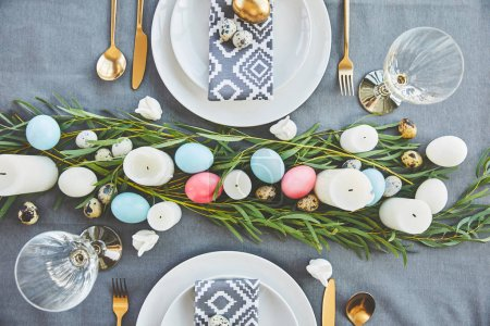 Photo for Top view of easter table decoration - Royalty Free Image