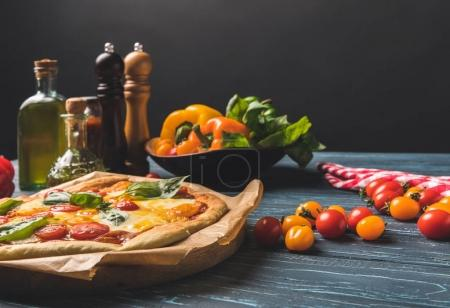 Photo for Appetizing tasty homemade pizza with vegetables - Royalty Free Image