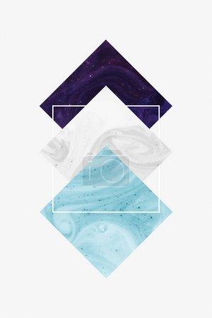 Foto de Crear diseño con rombo morado, blanco y azul oscuro y cuadrado, aislado en blanco - Imagen libre de derechos