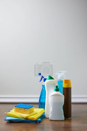 bottles with antiseptic liquids for spring cleaning