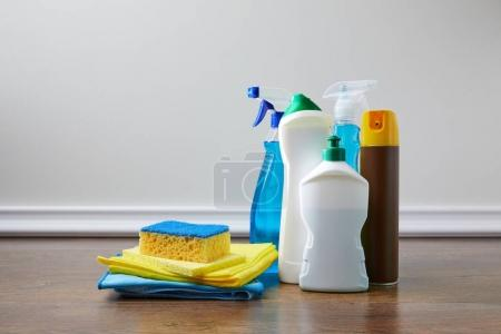 domestic supplies for spring cleaning on floor
